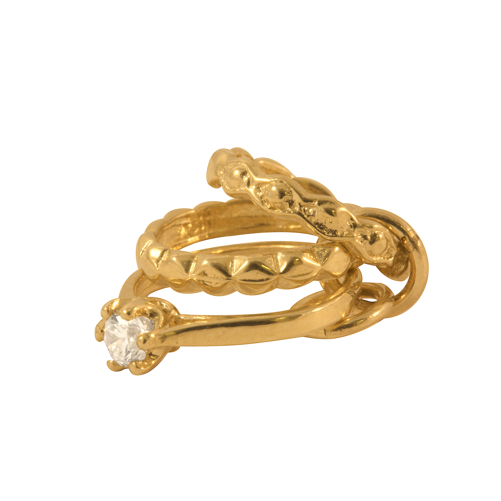 An image of 9ct Gold 3 Rings Crystal Charm