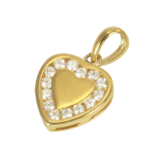 An image of 9ct Yellow Gold and Cubic Zirconia Heart Charm