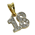 9ct Gold Cubic Zirconia 18 Charm