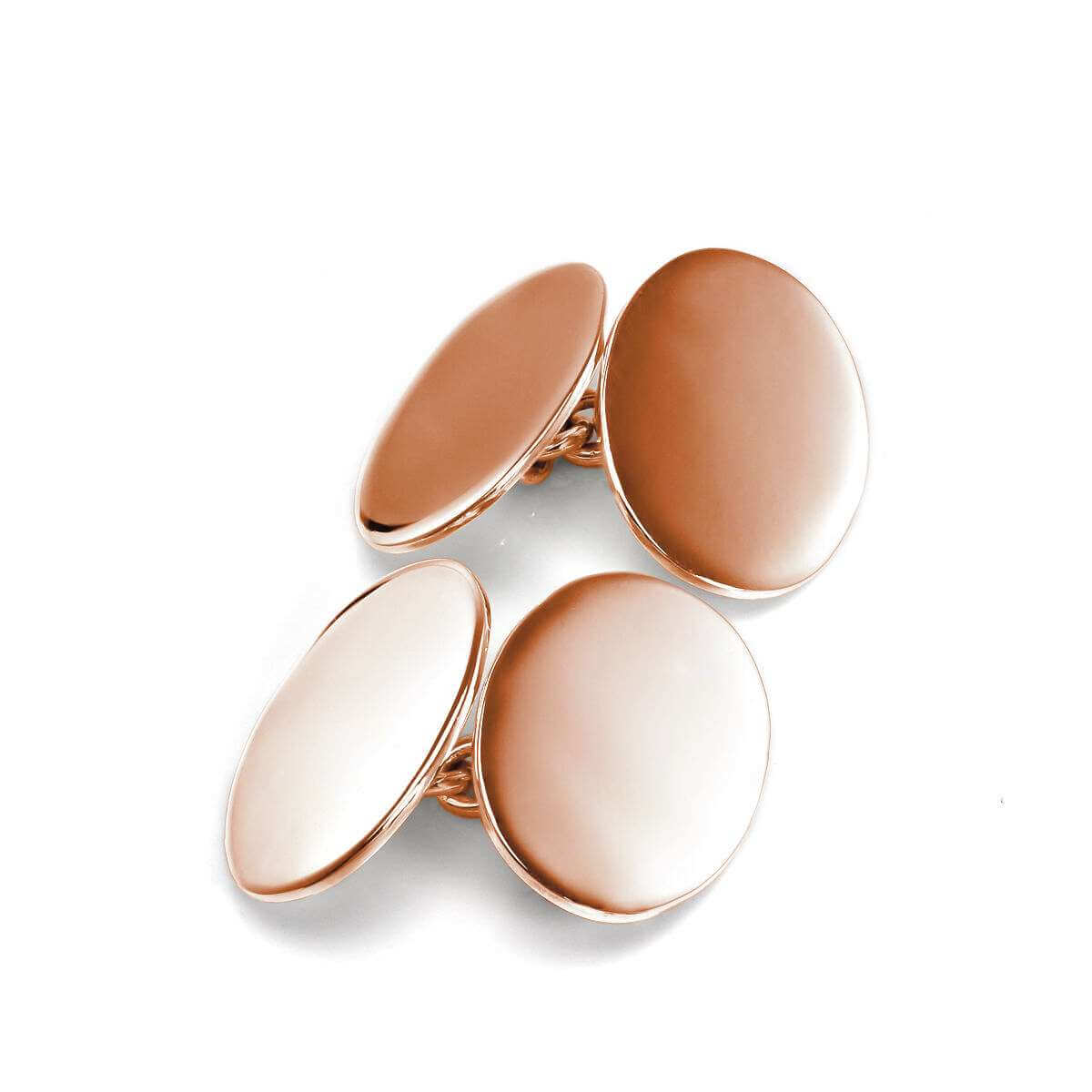 Rose Gold Plated Sterling Silver Double-Sided Plain Oval Cufflinks