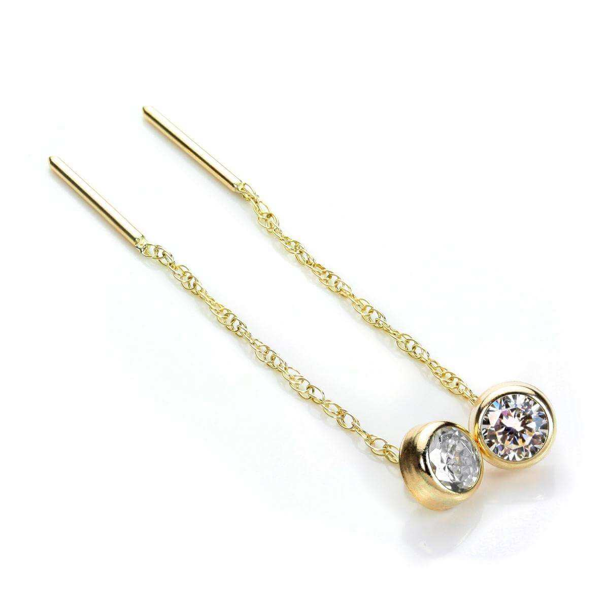 9ct Gold 5mm Round Clear CZ Crystal Rubover Pull Thru Earrings