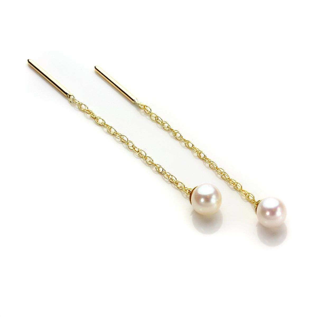 9ct Yellow Gold Cultured Pearl Pull Through Earrings