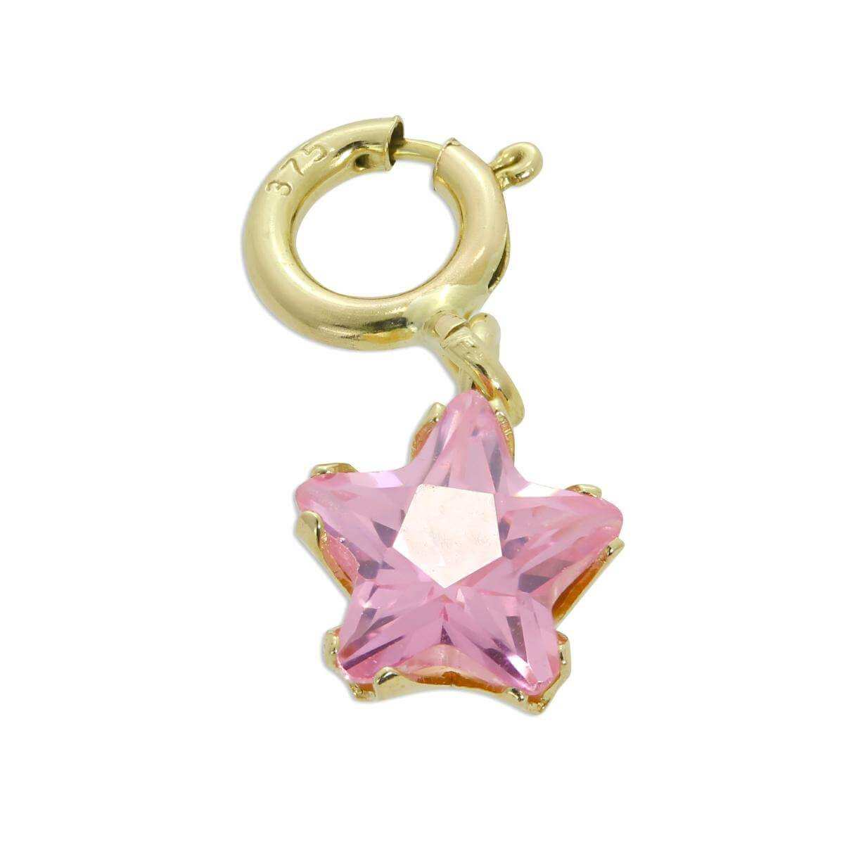 9ct Gold & Pink CZ Small Star Clip on Charm