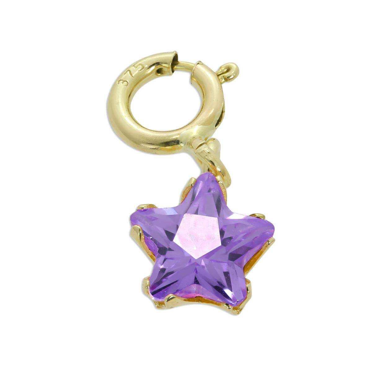 9ct Gold & Amethyst CZ Small Star Clip on Charm