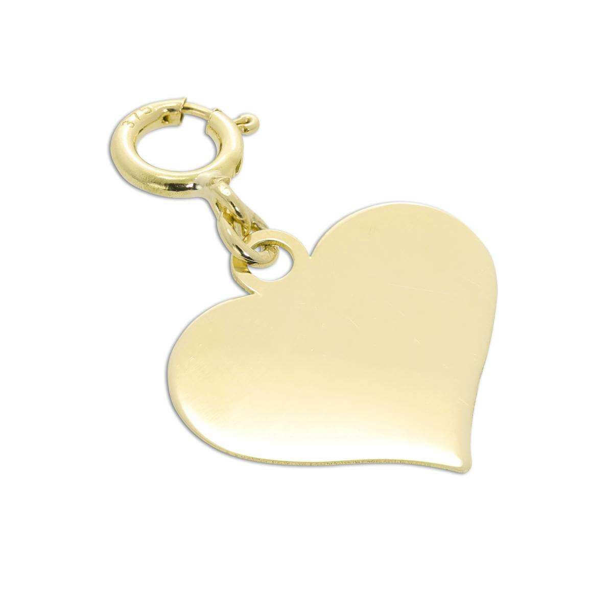 9ct Gold Engravable Heart Clip on Charm