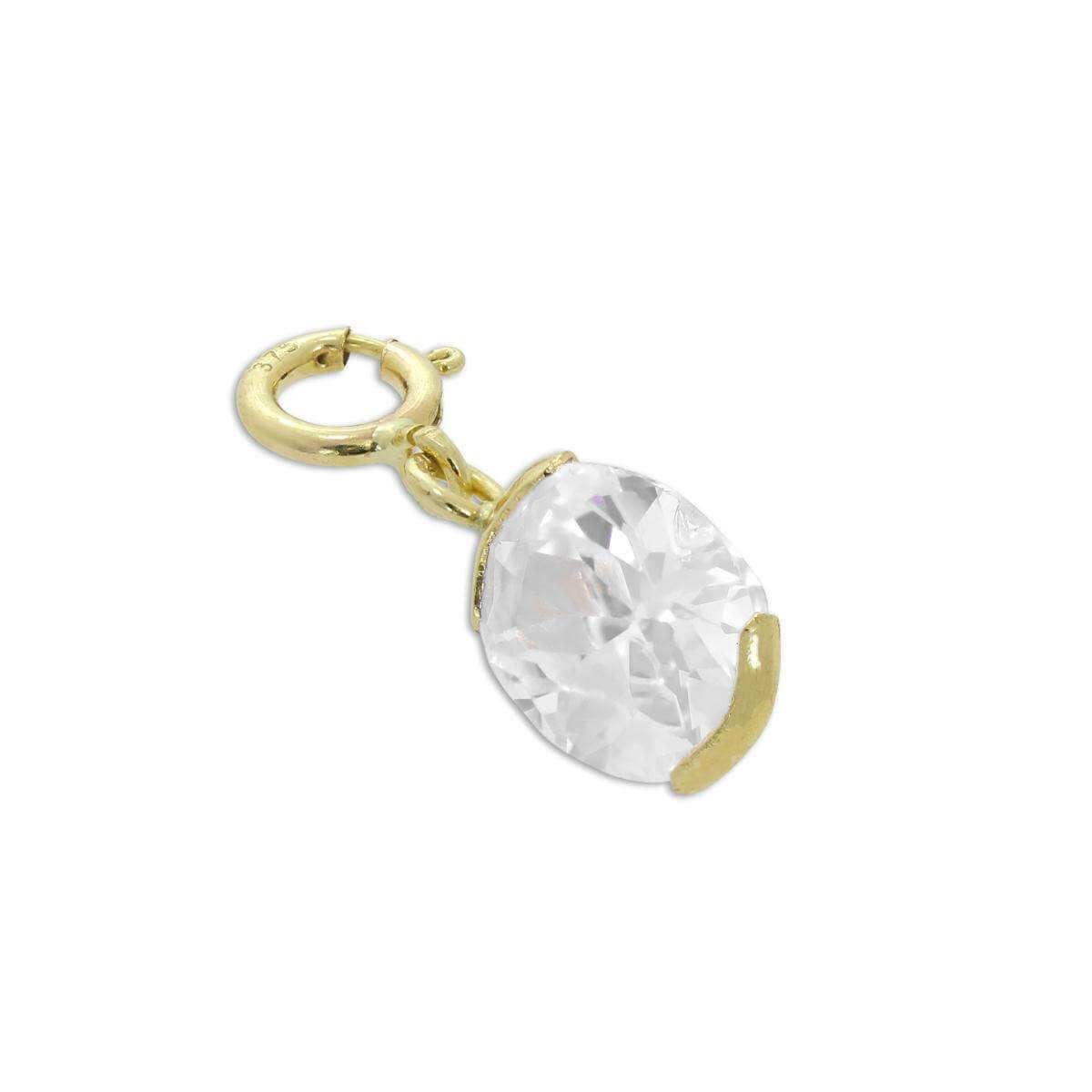 9ct Gold & Clear CZ Oval Clip on Charm
