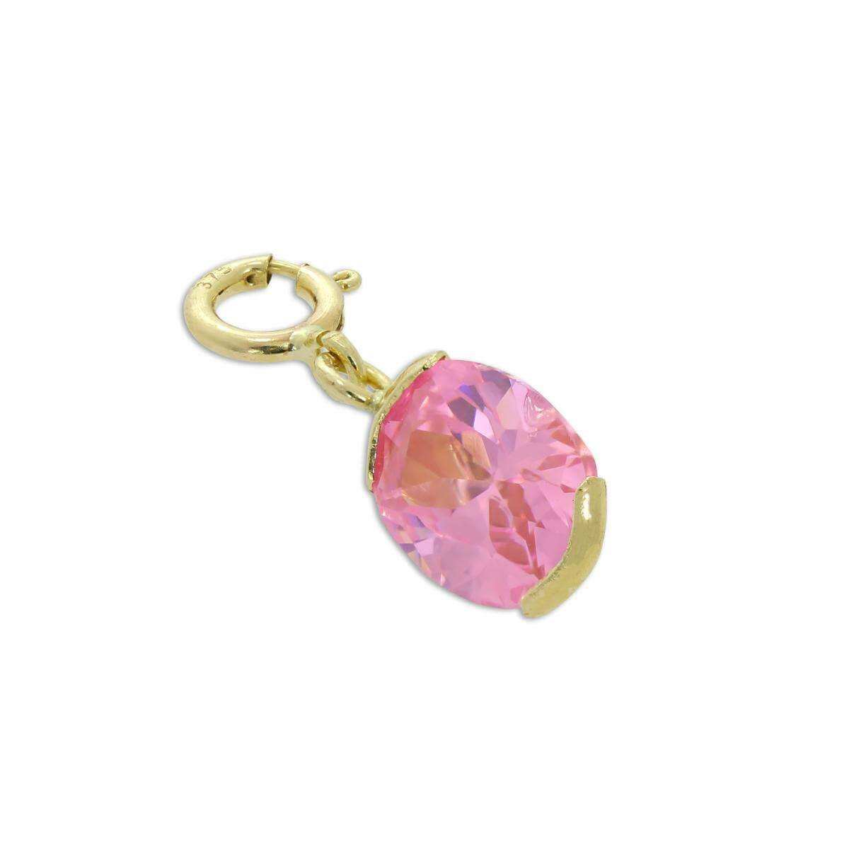 9ct Gold & Pink CZ Crystal Oval Clip on Charm