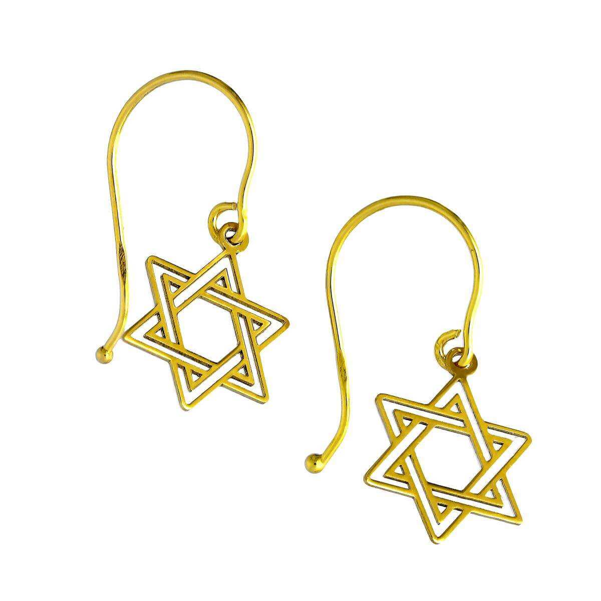 9ct Star of David Outline Earrings