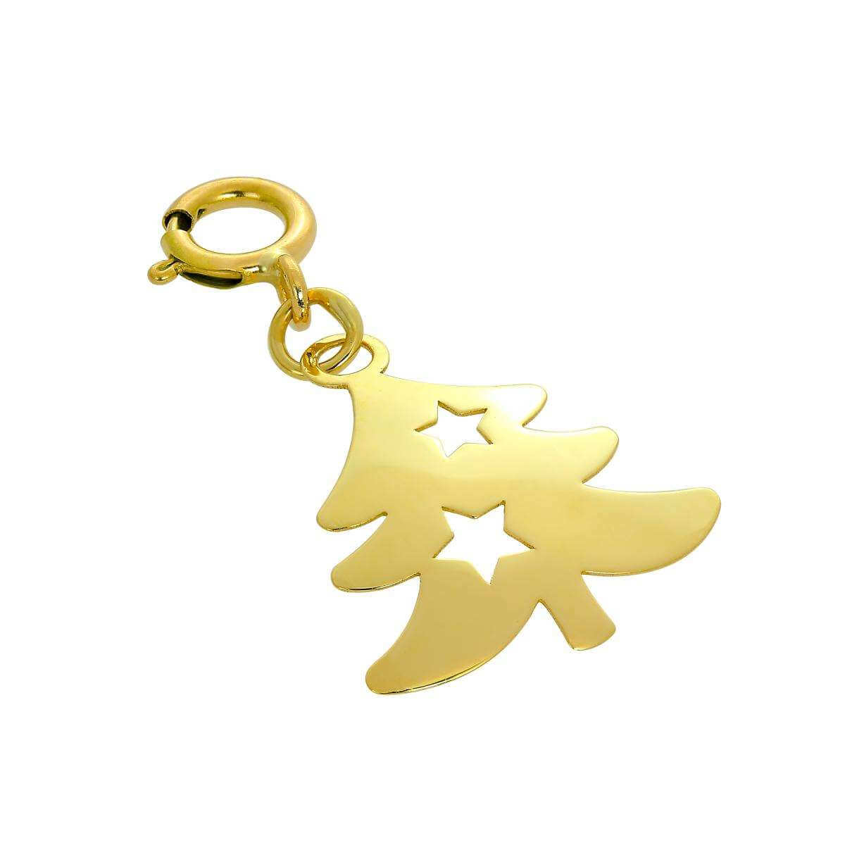 9ct Gold Christmas Tree Clip on Charm w Cut Out Stars