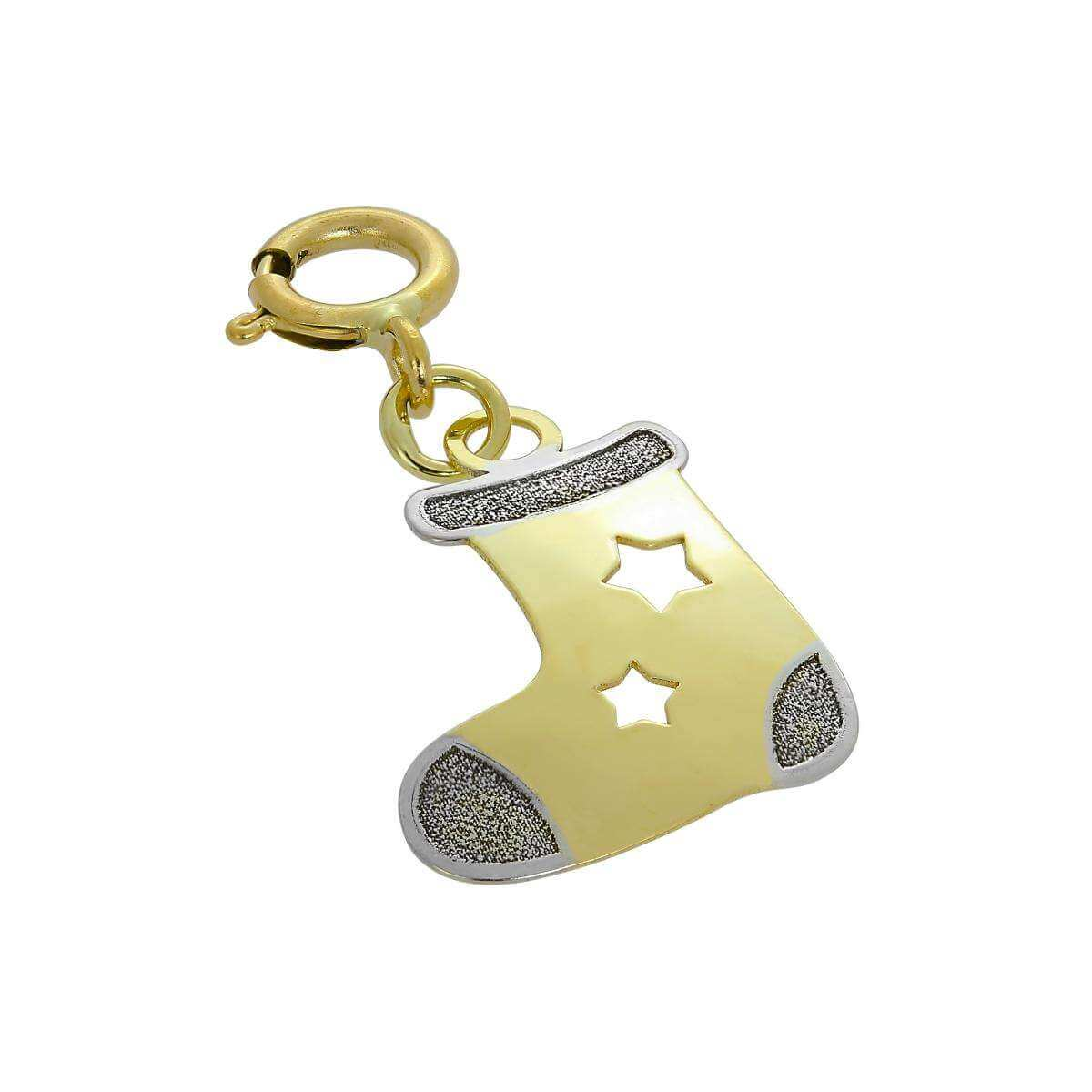 9ct Gold Christmas Stocking Clip on Charm w Cut Out Stars