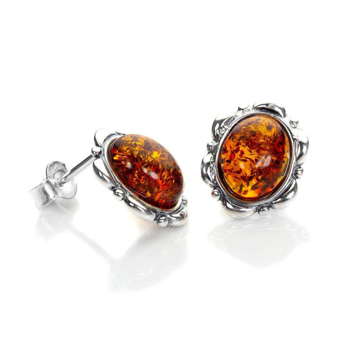 Sterling Silver & Baltic Amber Flower Set Stud Earrings
