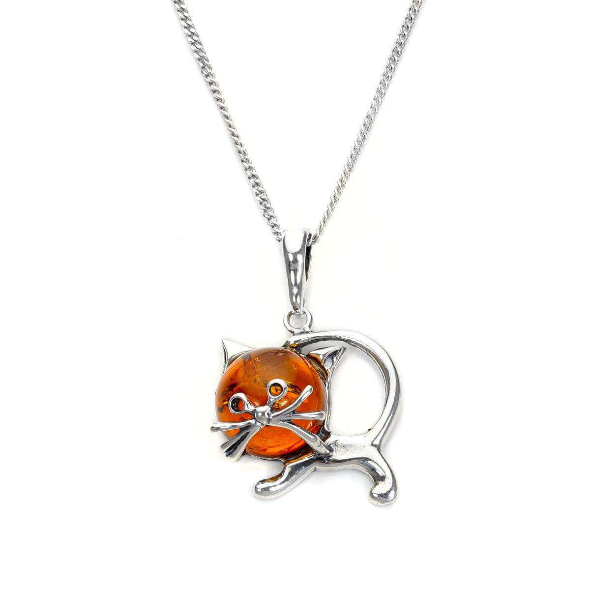 Sterling Silver & Baltic Amber Cat Pendant