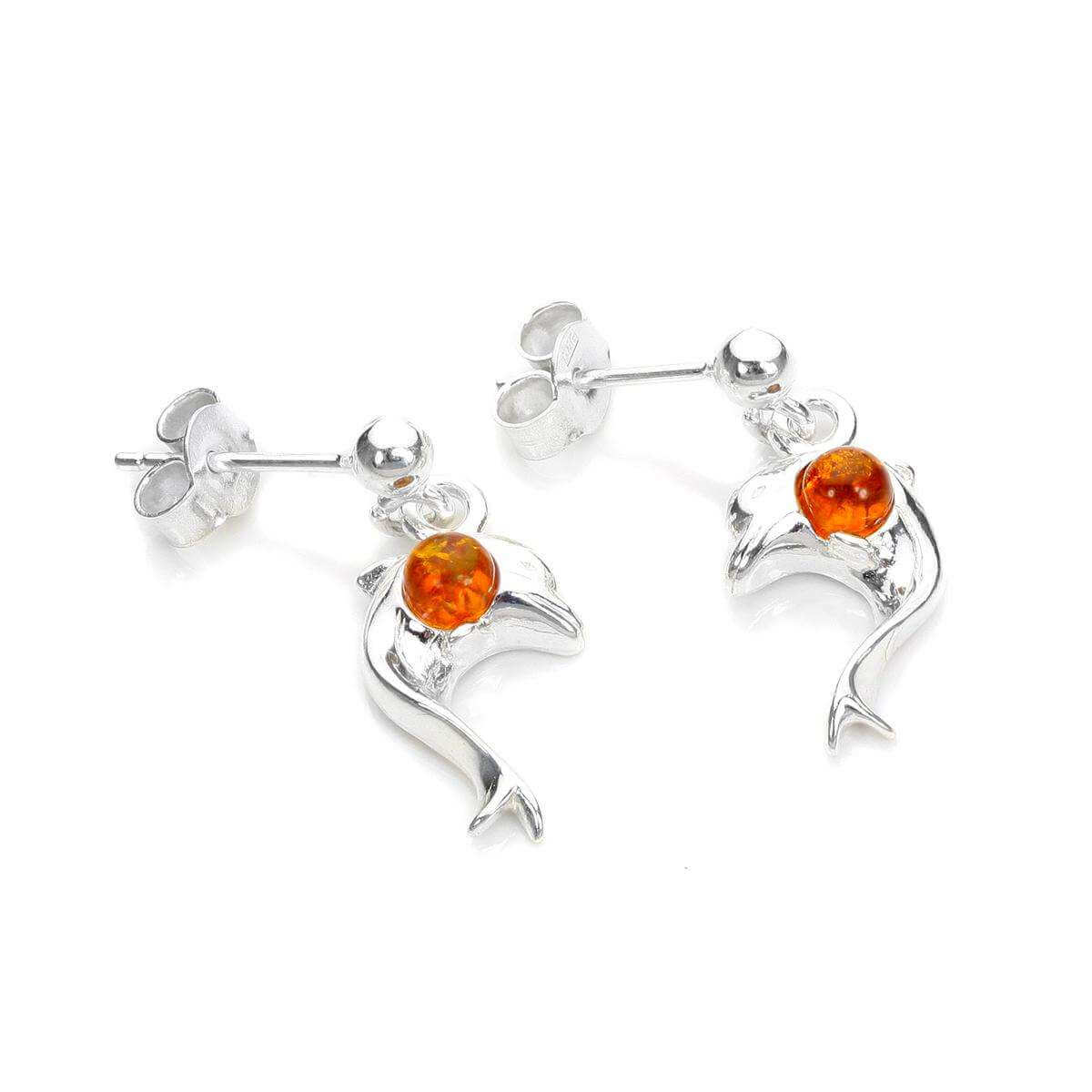 Sterling Silver & Baltic Amber Dolphin Stud Earrings
