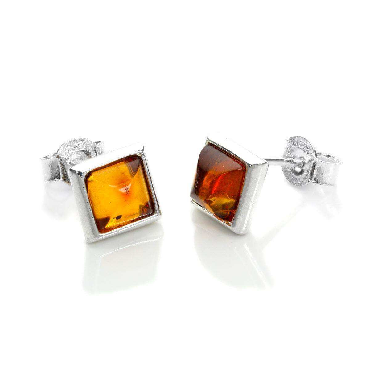 Sterling Silver & Baltic Amber Square Stud Earrings