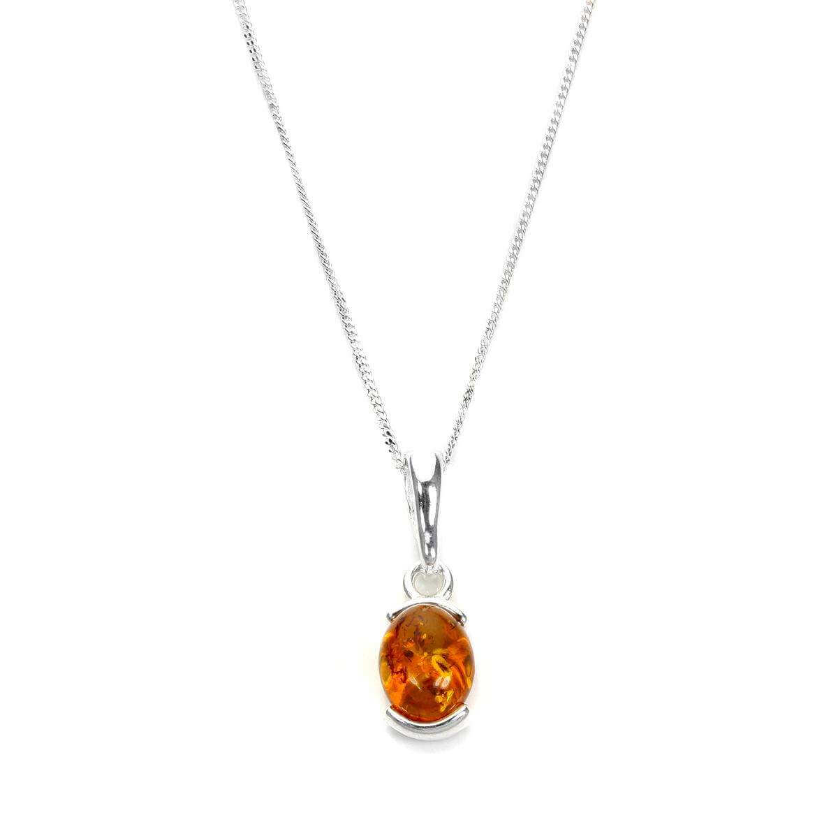 Small Sterling Silver & Baltic Amber Oval Pendant