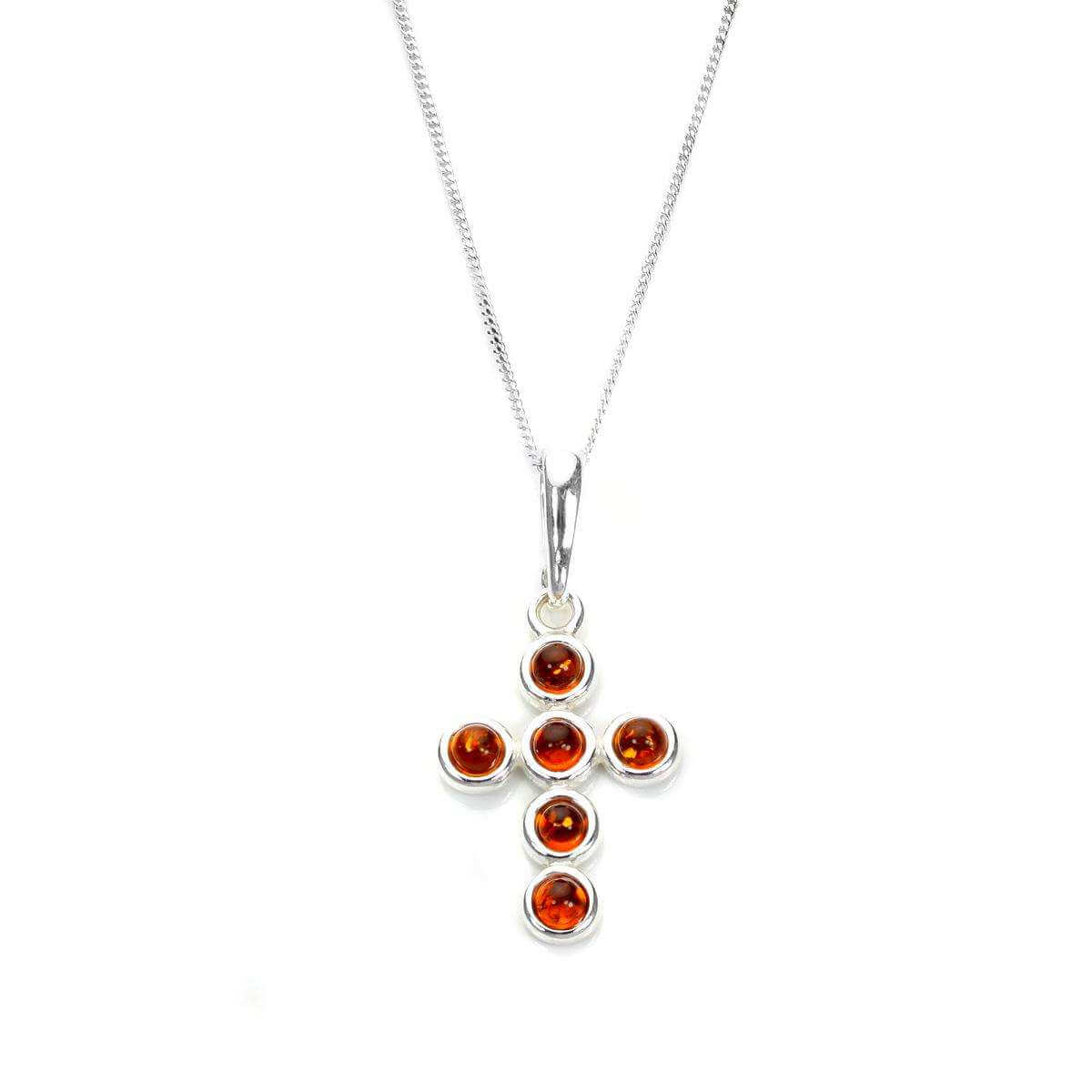 Sterling Silver & Baltic Amber Round Bead Cross Pendant