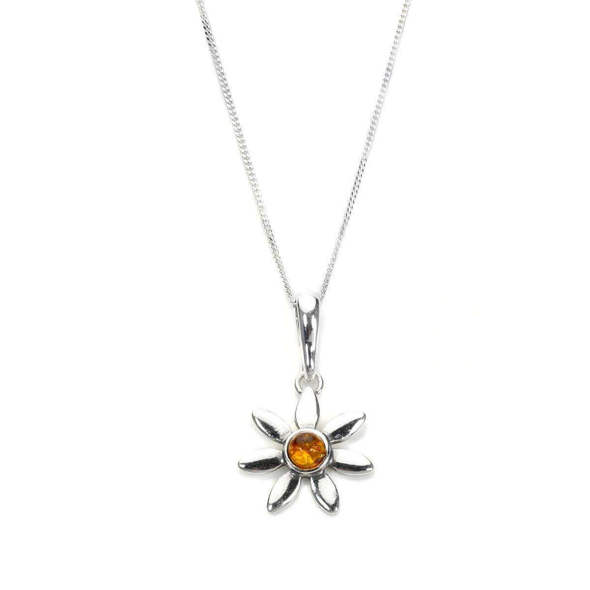 Sterling Silver & Baltic Amber Flower Pendant
