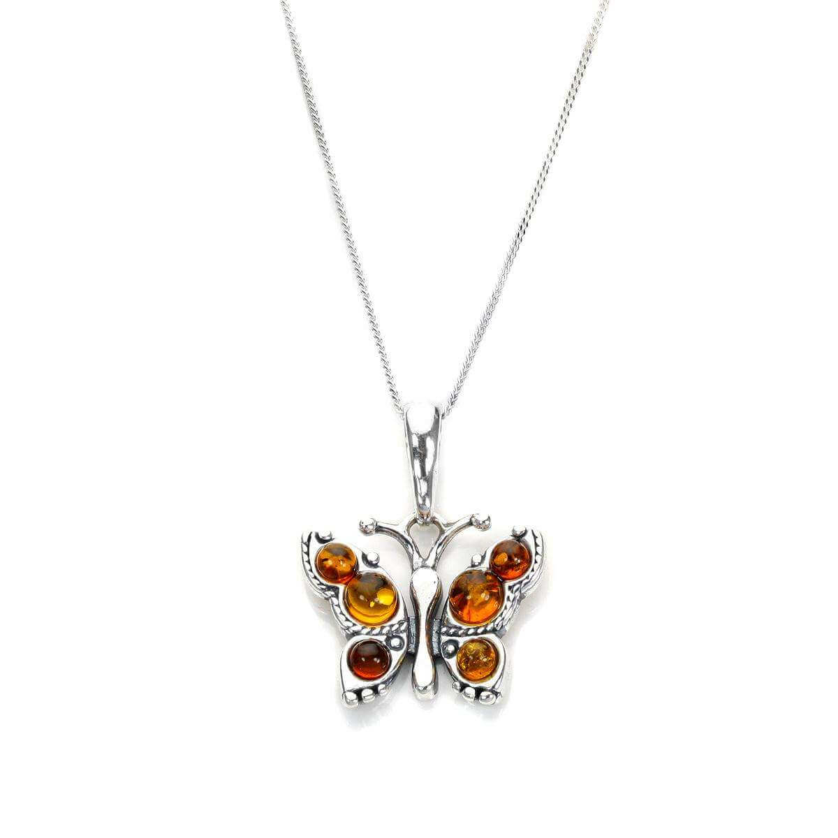 Small Sterling Silver & Baltic Amber Butterfly Pendant