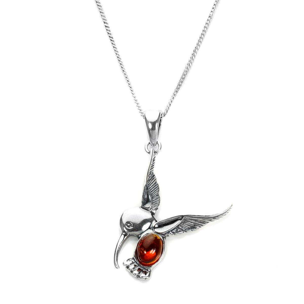 Sterling Silver & Baltic Amber Hummingbird Pendant