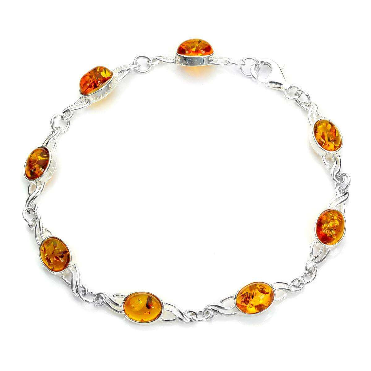 Sterling Silver & Baltic Amber Chain Bracelet