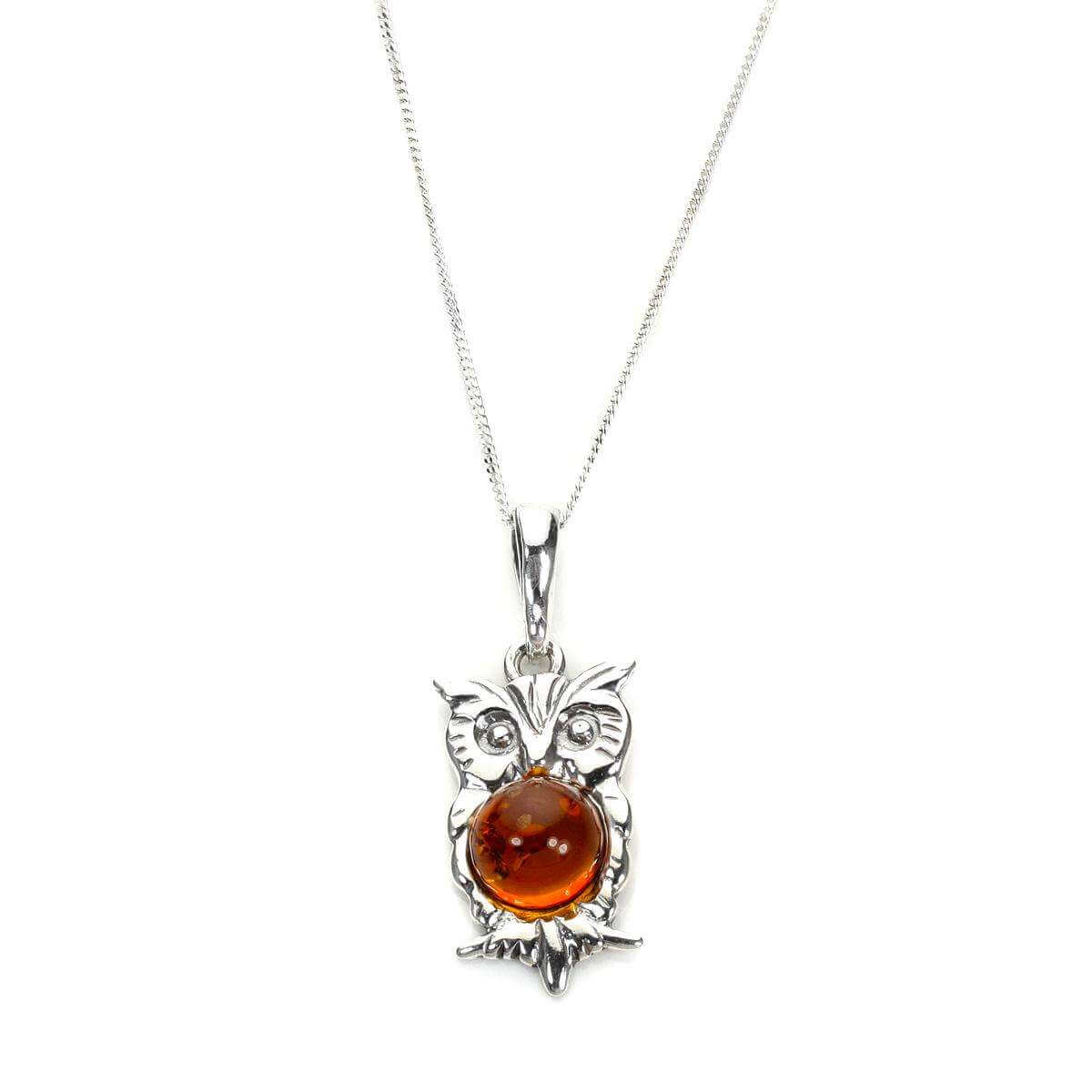 Amber Sterling Silver Owl Pendant aoHCev