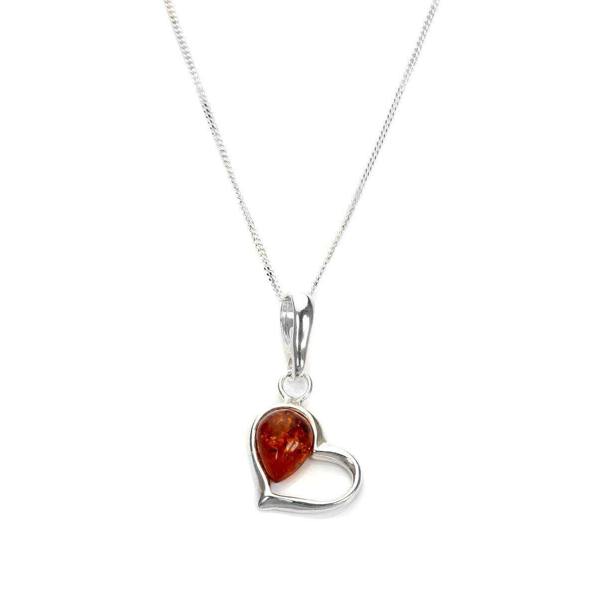 Sterling Silver & Baltic Amber Open Heart Pendant