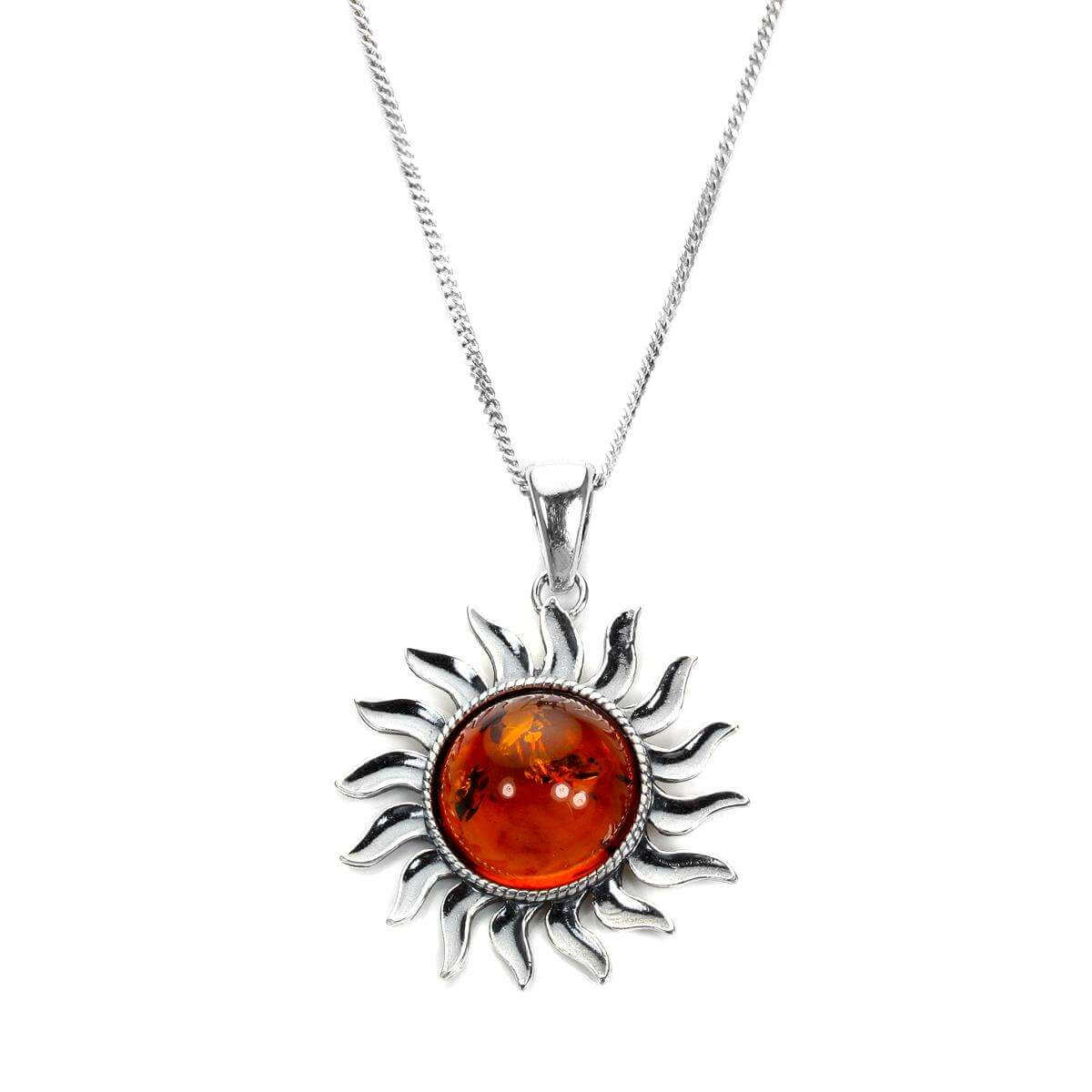 Large Sterling Silver & Baltic Amber Sun Pendant