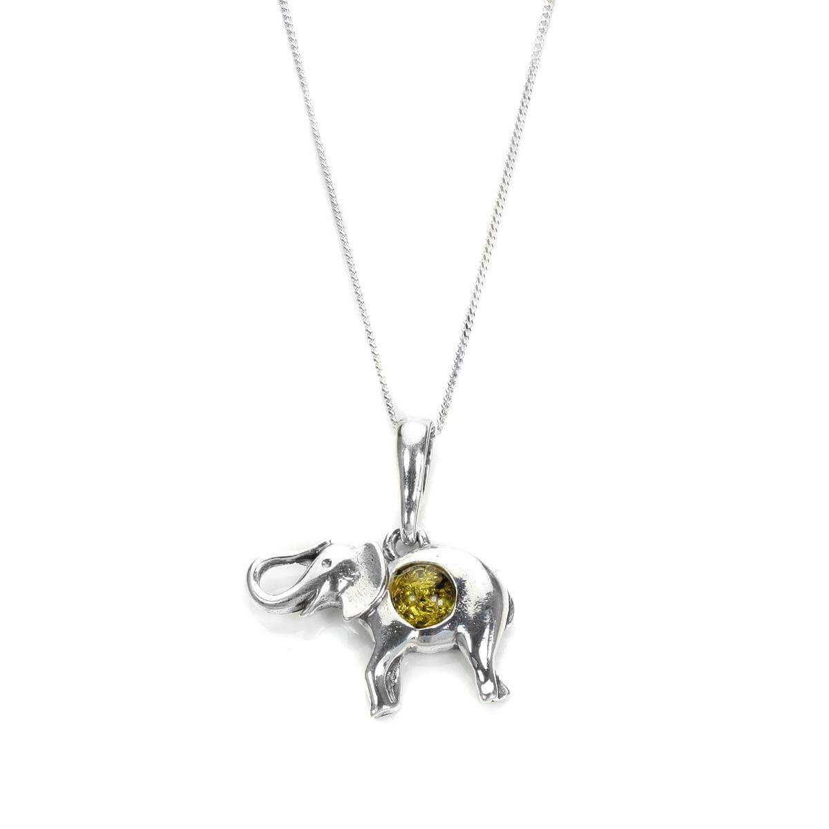 Sterling Silver & Baltic Amber Elephant Pendant