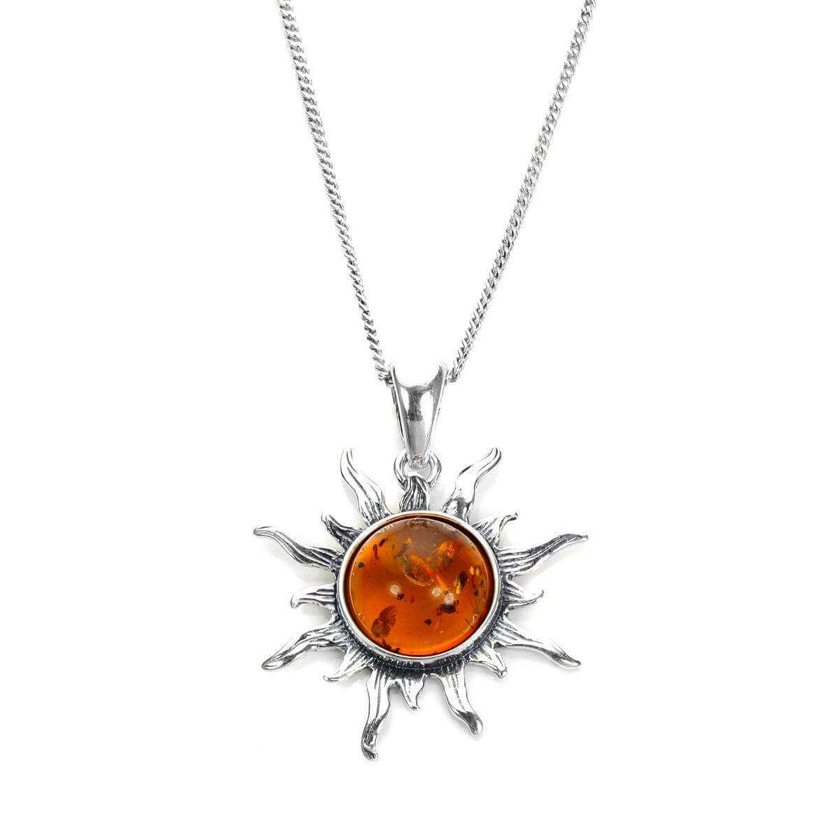 Sterling Silver & Baltic Amber Flaming Sun Pendant