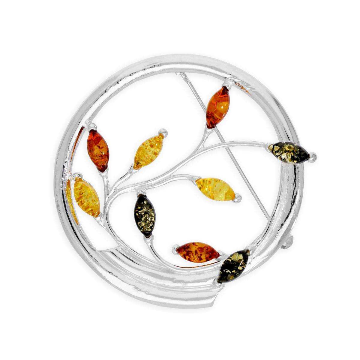 Sterling Silver & Multicoloured Amber Leaves Swirl Brooch