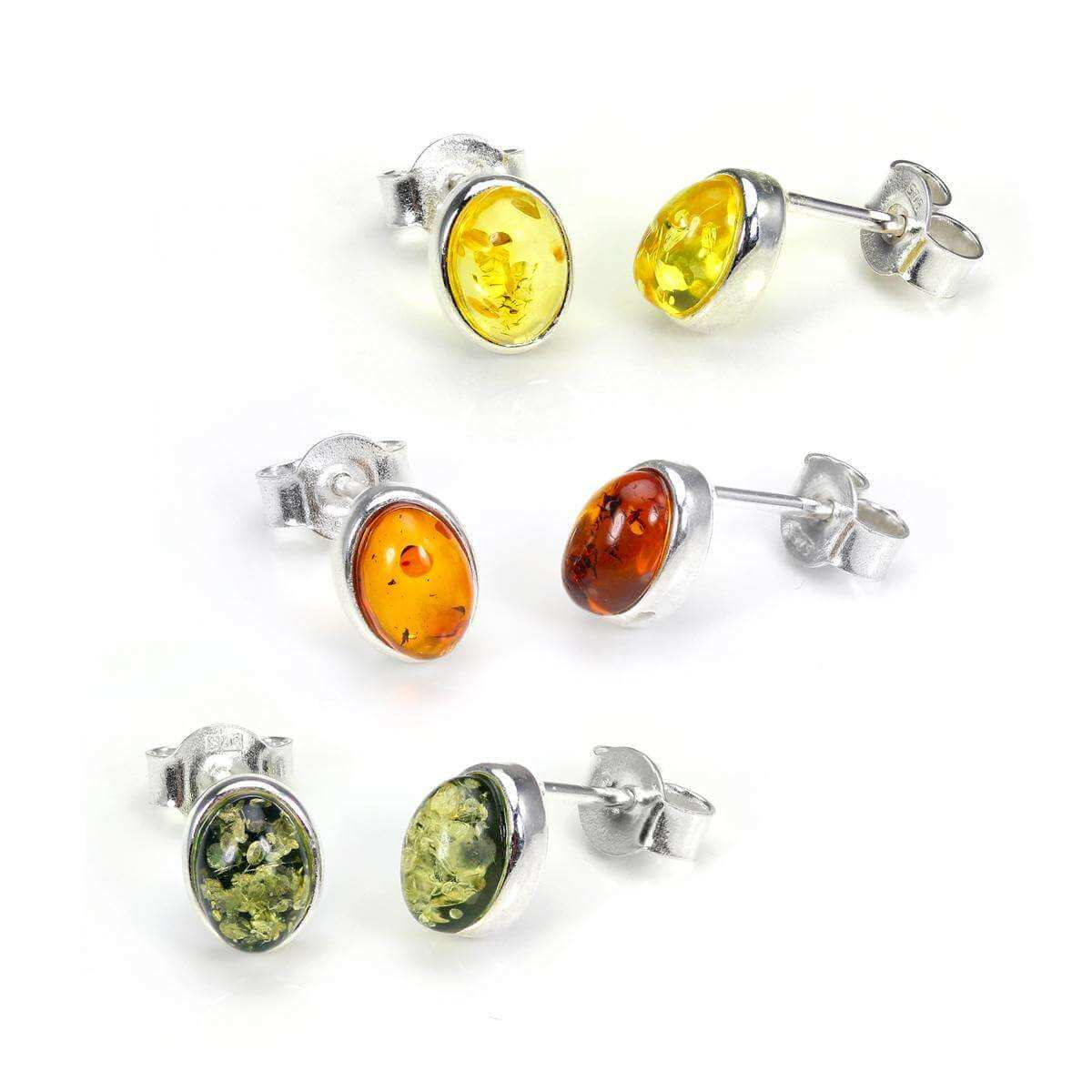 Small Sterling Silver & Baltic Amber Oval Stud Earrings