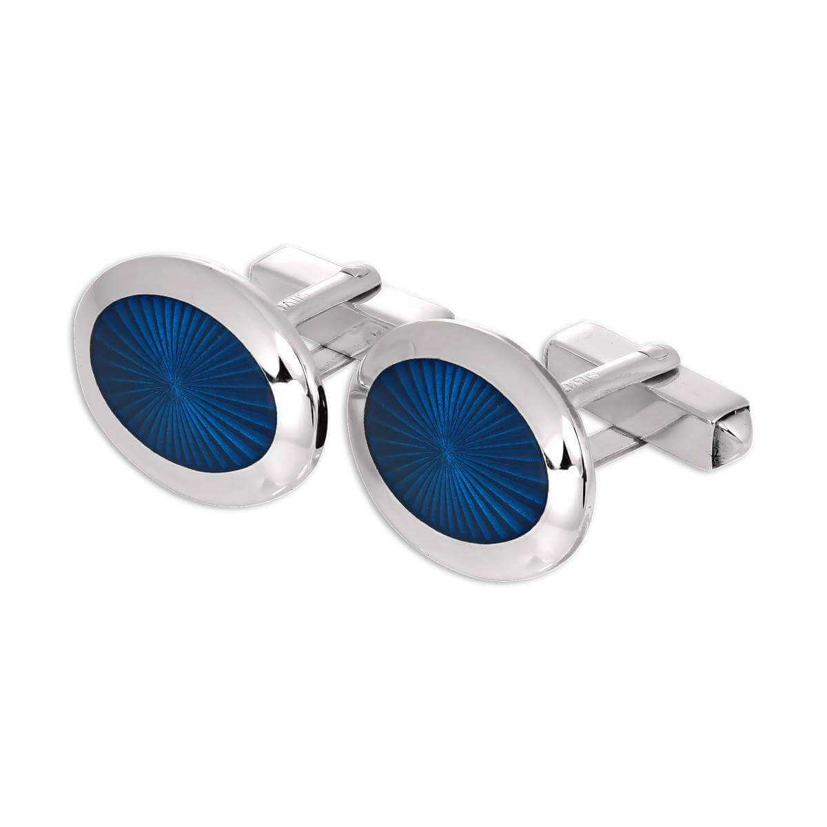 Sterling Silver & Blue Enamel Sunburst with Border Oval Swivelback Cufflinks