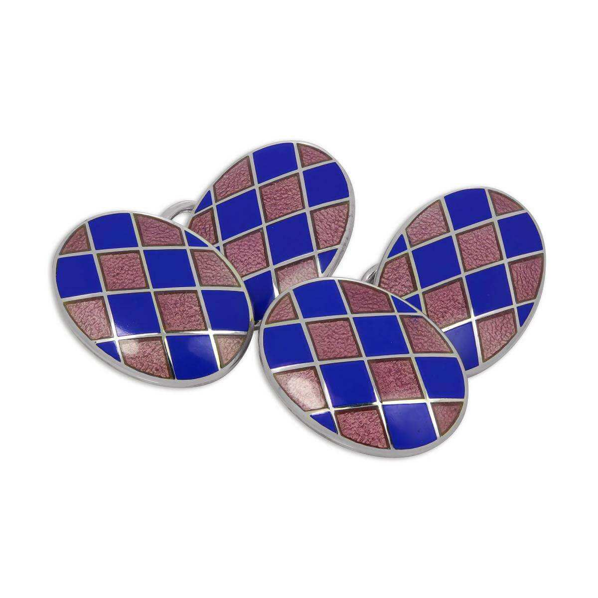 Sterling Silver Blue & Pink Enamel Harlequin Double-Sided Oval Cufflinks