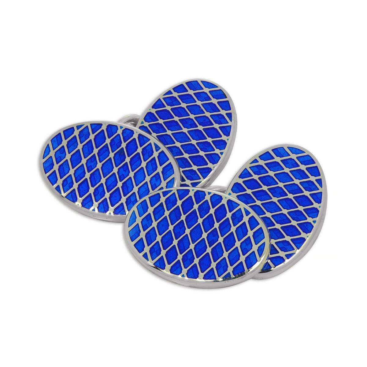 Sterling Silver & Blue Enamel Diamond Pattern Double-Sided Oval Cufflinks