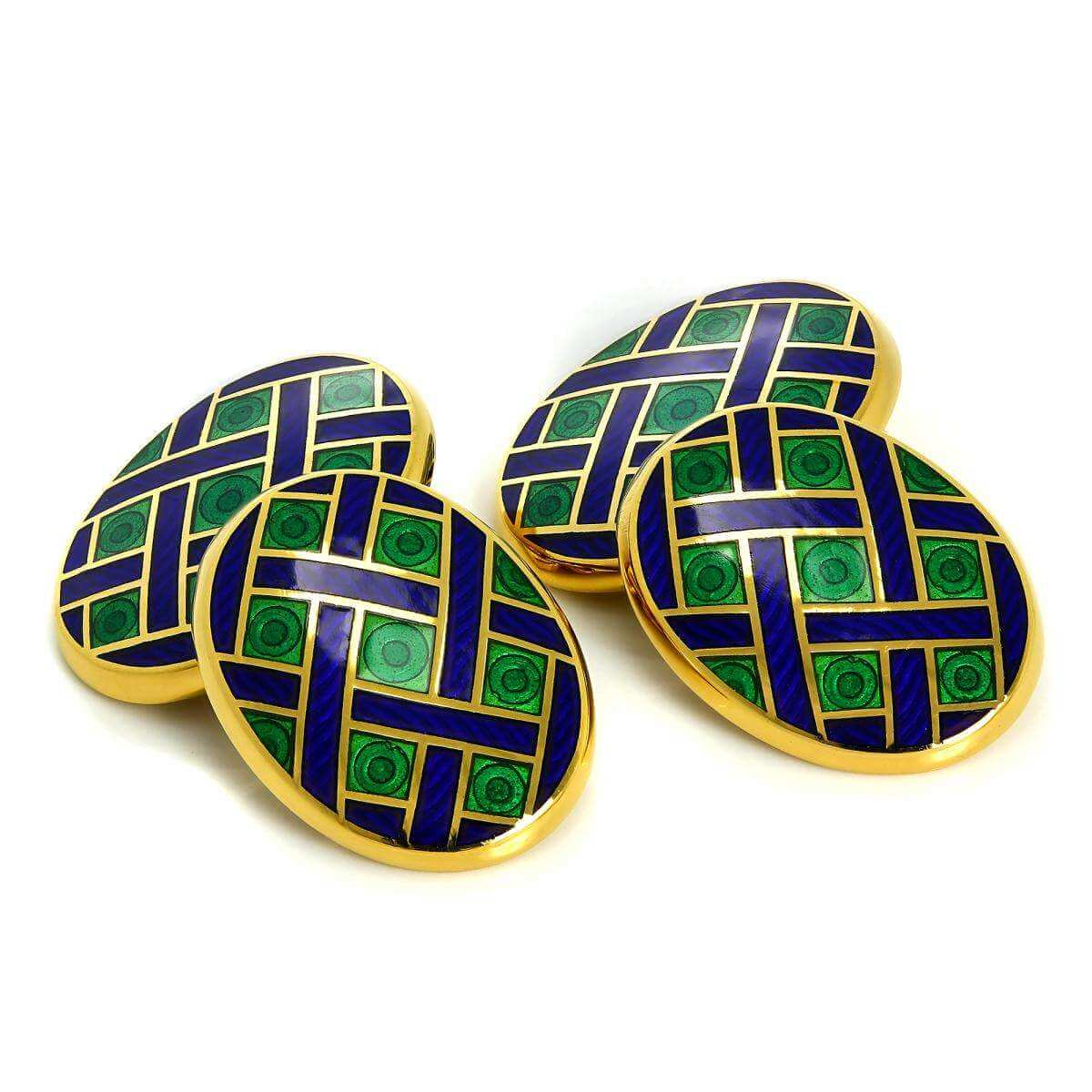 9ct Gold Blue & Green Enamel Weave Pattern Double Sided Chain Oval Cufflinks