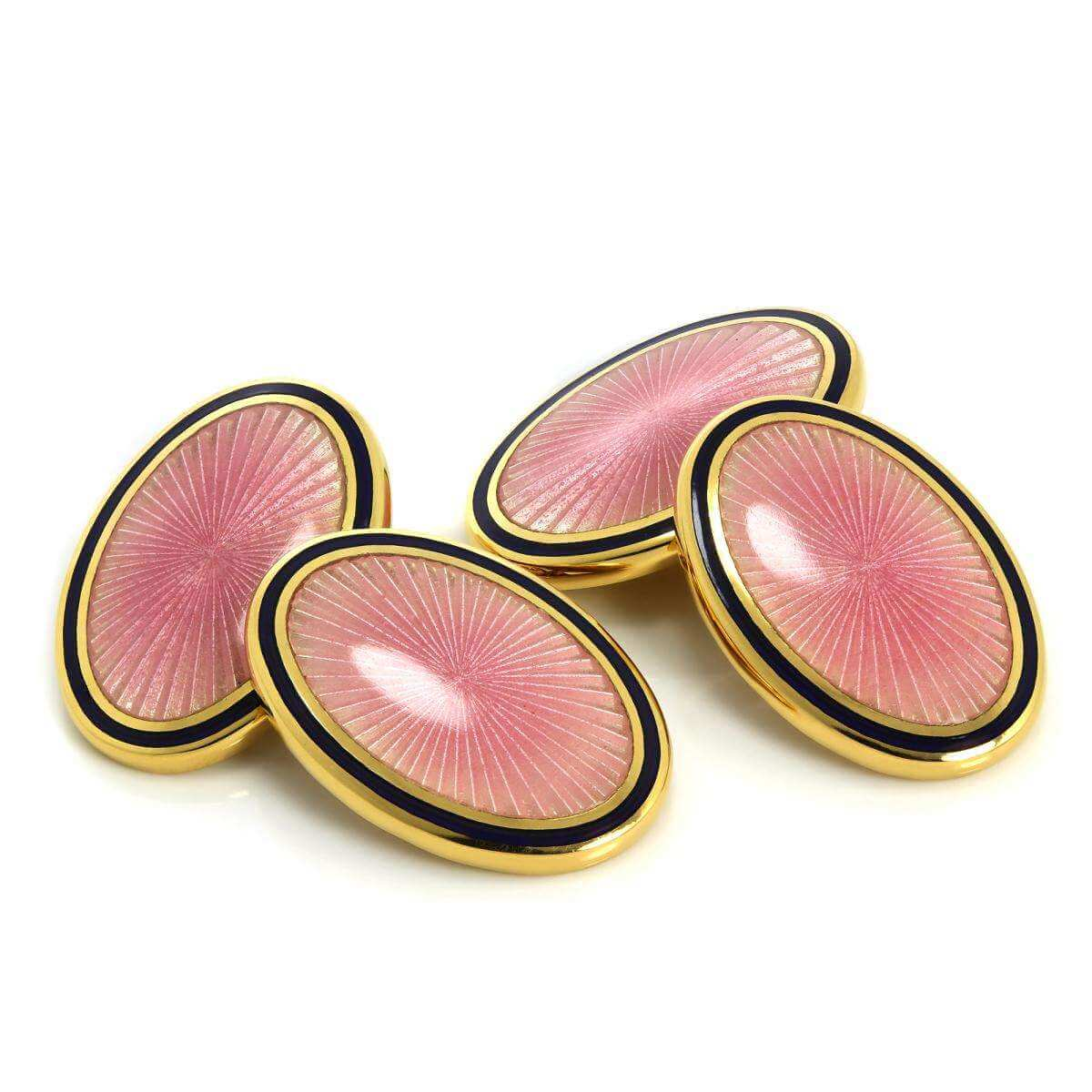 9ct Gold Pink Enamel Sun Burst Pattern Double Sided Chain Oval Cufflinks