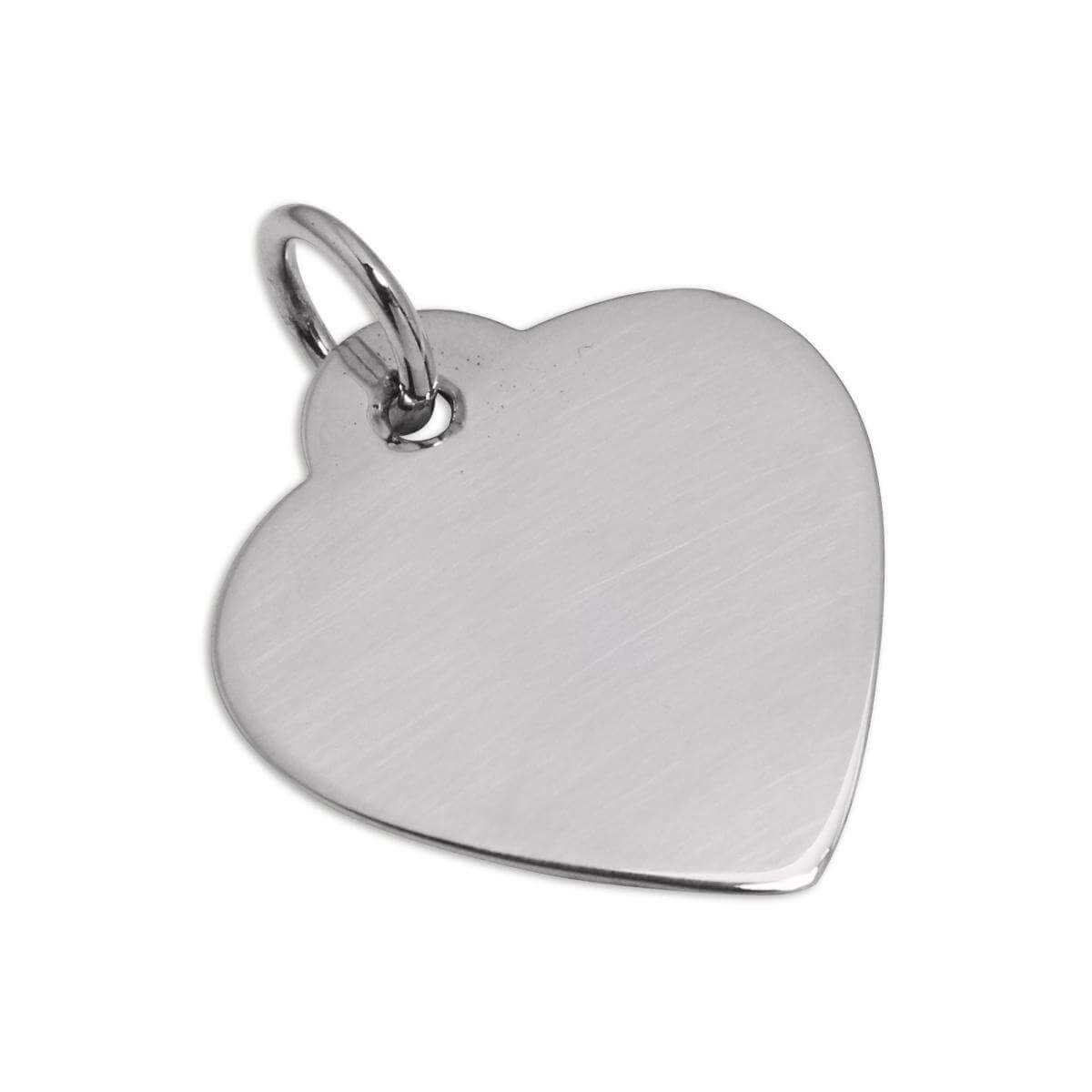 Large Sterling Silver Heart Dog Collar Engravable Name Tag