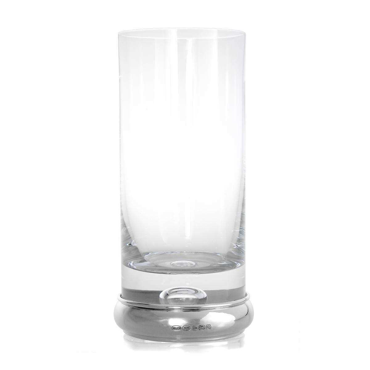 Sterling Silver Based Engravable High Ball Glass Tumbler