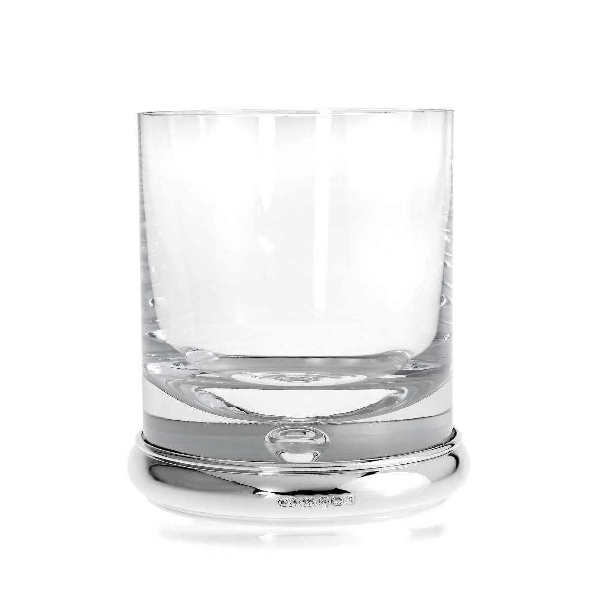 Large Sterling Silver Based Engravable Whiskey Tumbler Glass