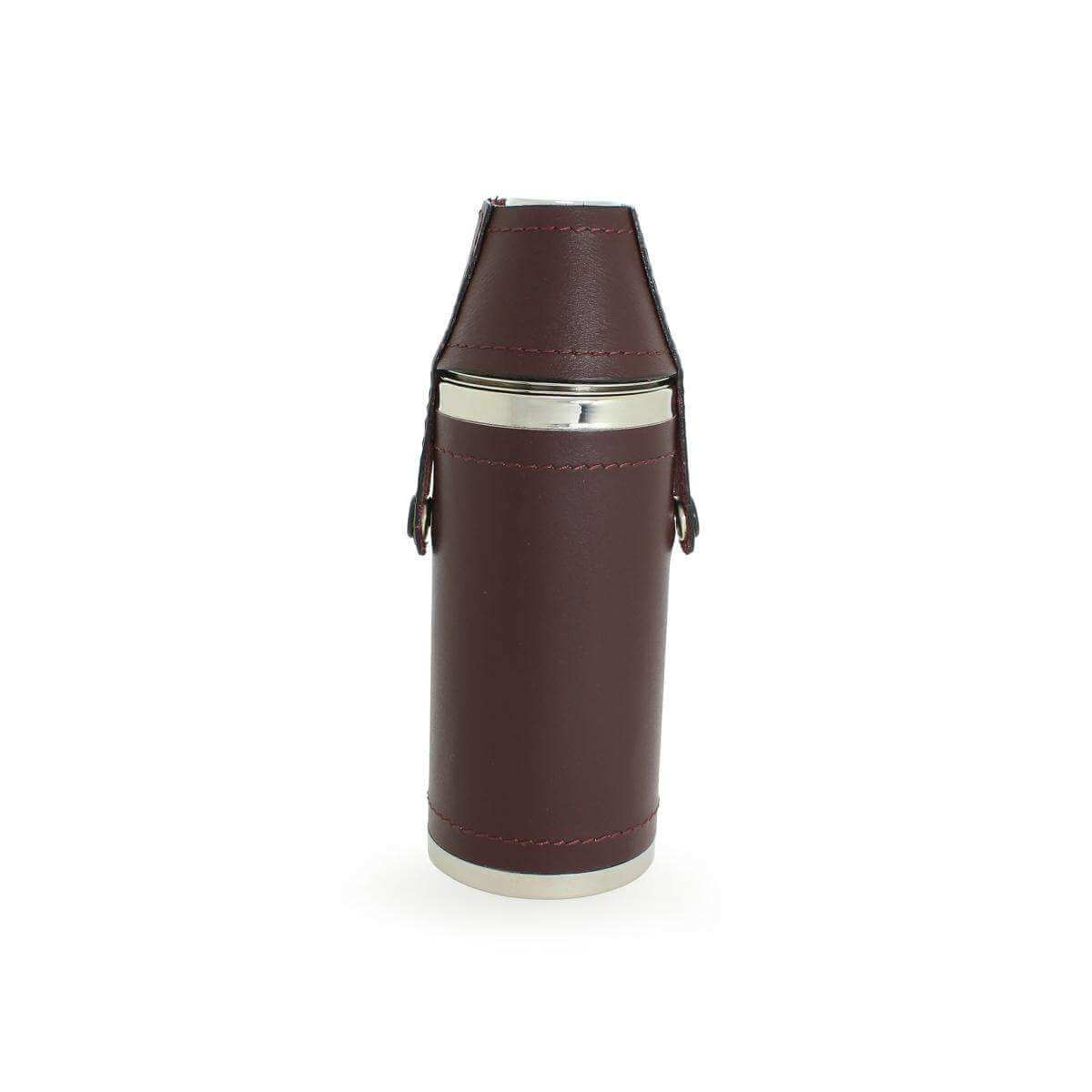 8oz Stainless Steel Hunting Flask with Nip Cups Wrapped in Burgundy Leather