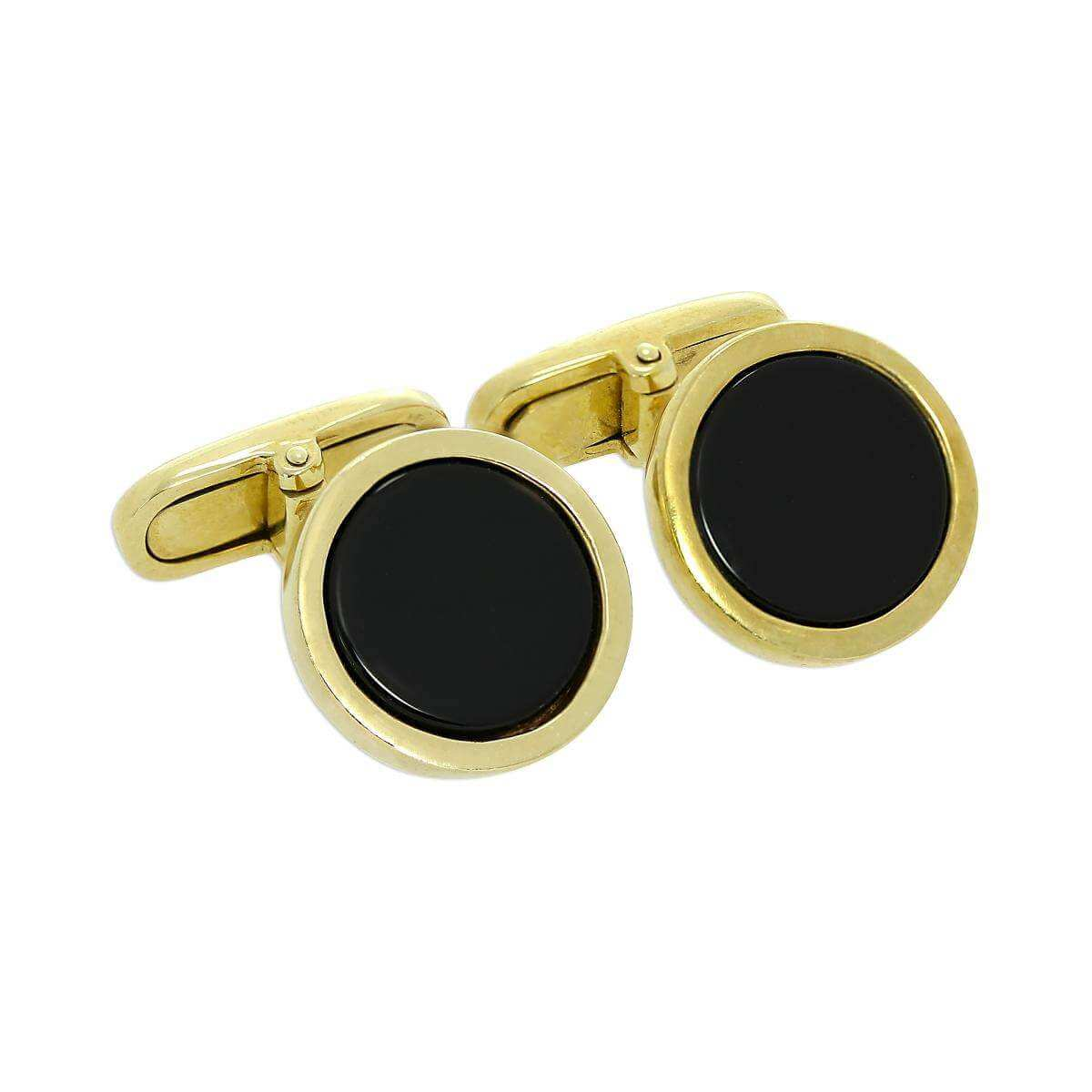 9ct Gold & Black Enamel Round Swivelback Cufflinks
