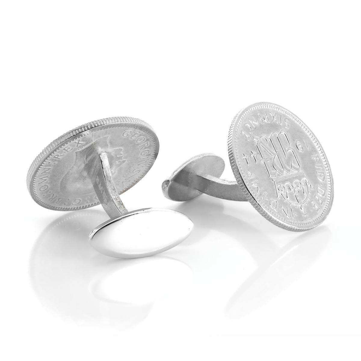 Sterling Silver Lucky Sixpence Cufflinks