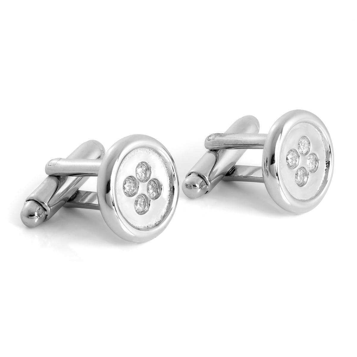 Sterling Silver & CZ Crystal Button Swivelback Cufflinks