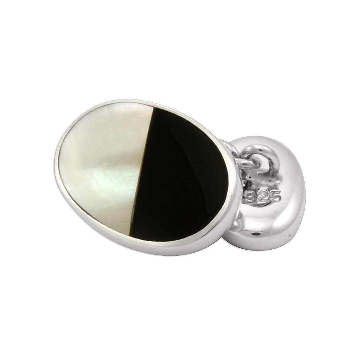 Sterling Silver Mother Of Pearl & Onyx Double-sided Cufflinks