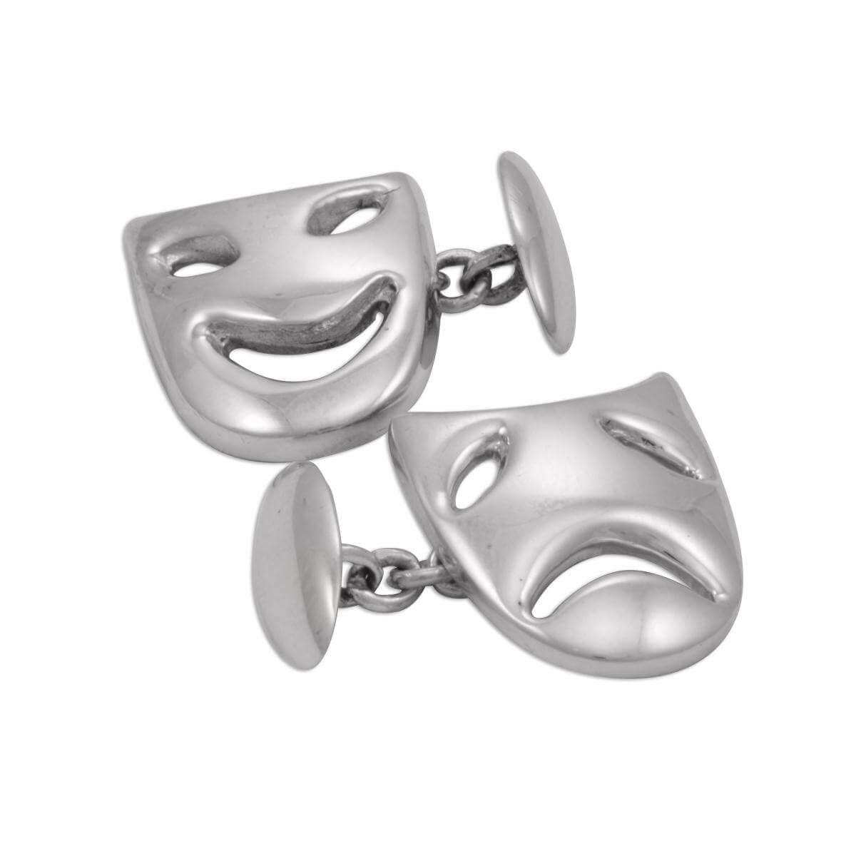baab2022a591 Sterling Silver Comedy & Tragedy Mask Cufflinks | SayersLondon.com