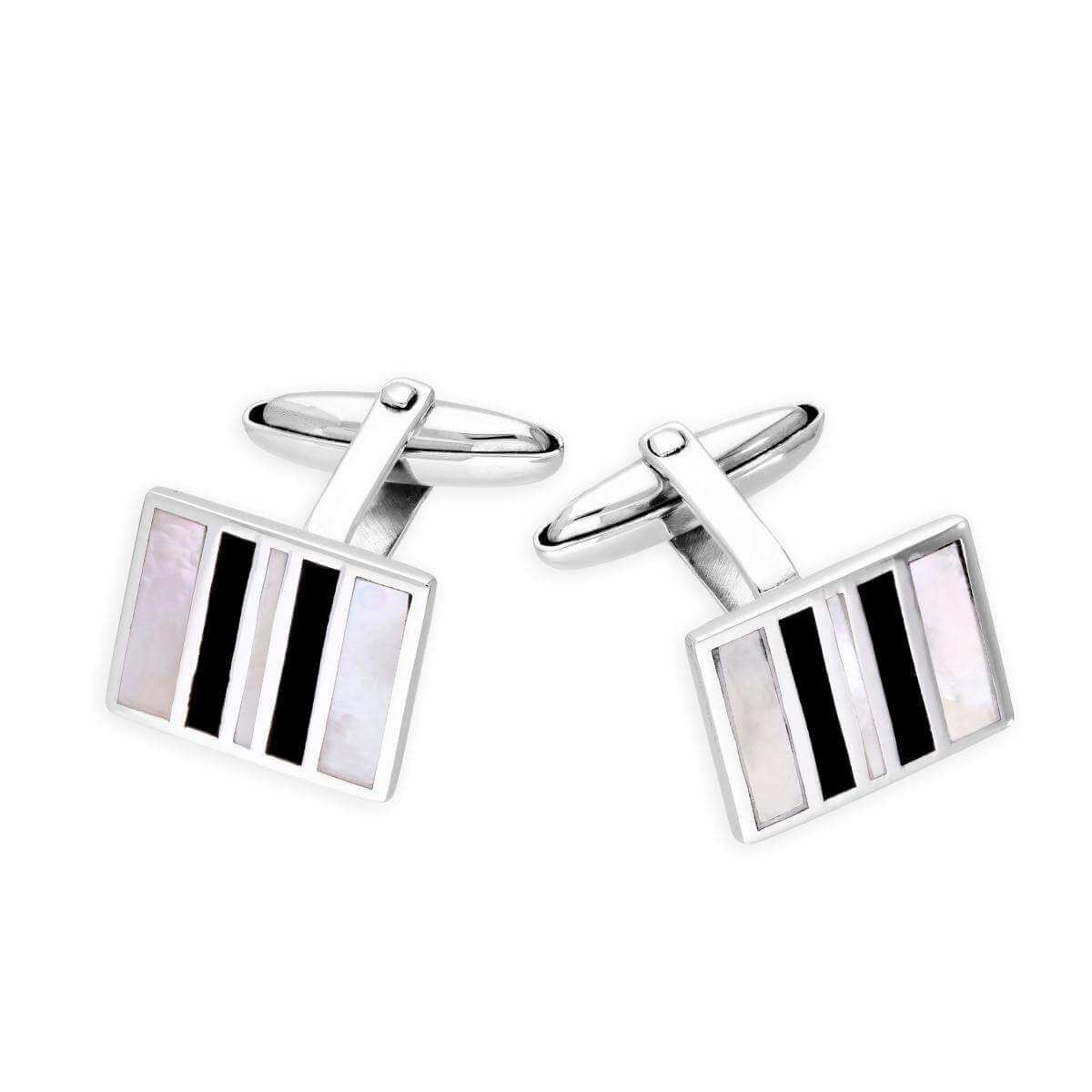 Sterling Silver Mother Of Pearl & Onyx Striped Cufflinks