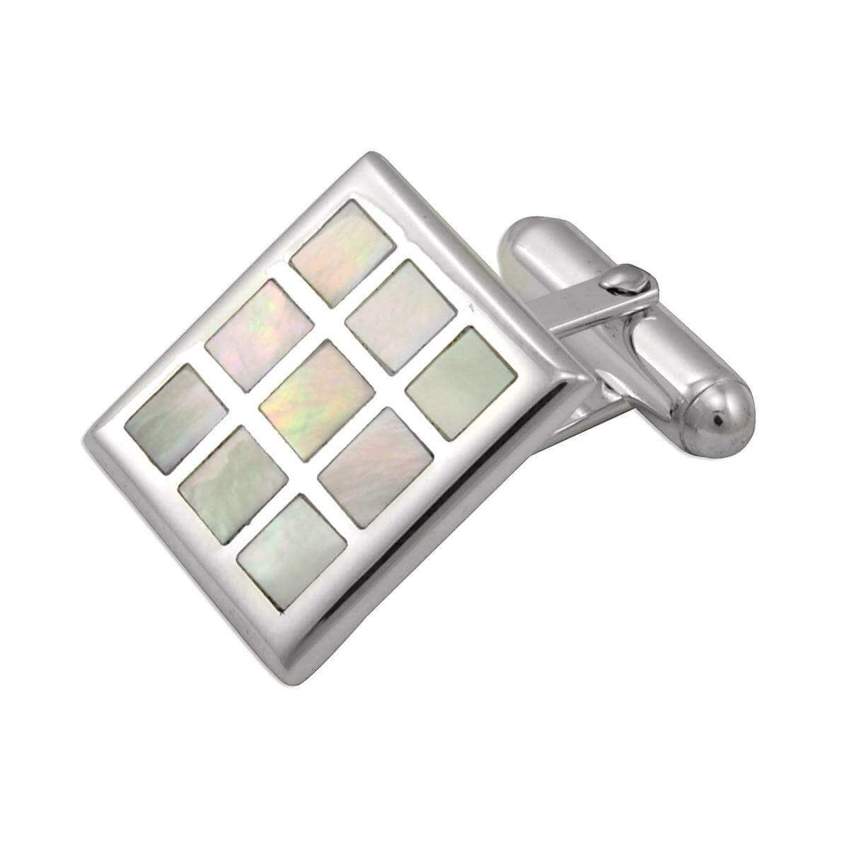 Sterling Silver Mother Of Pearl Chequered Cufflinks