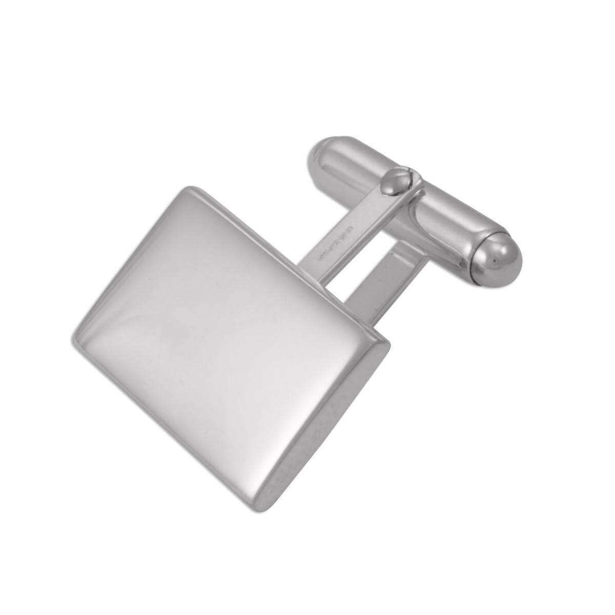 Sterling Silver Heavyweight Plain Rectangular Cufflinks