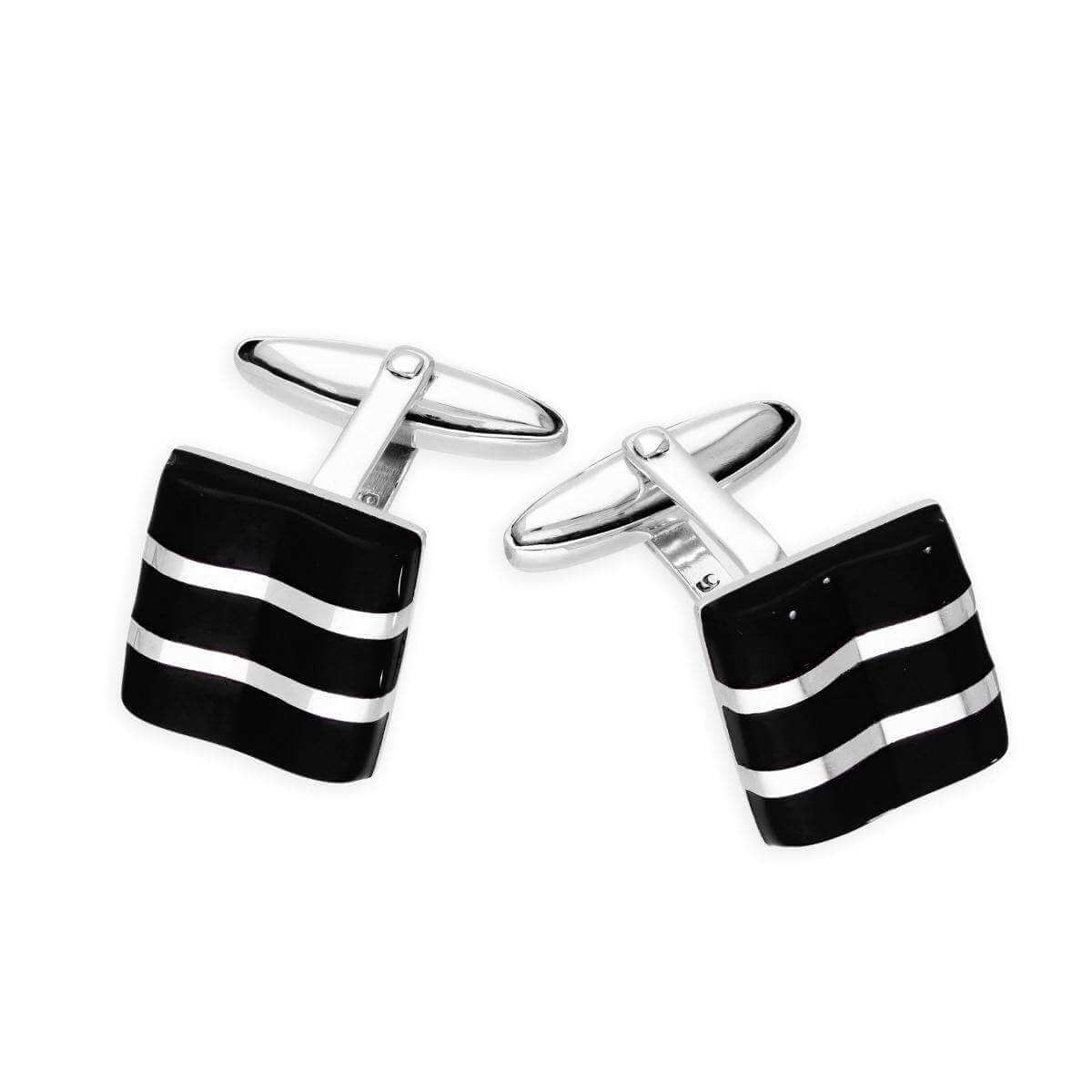 Sterling Silver Onyx Square with Lines Cufflinks