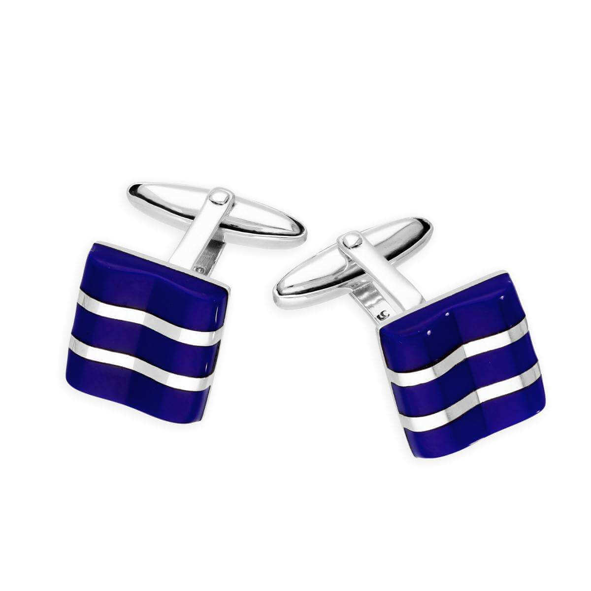 Sterling Silver Lapis Square with Lines Cufflinks